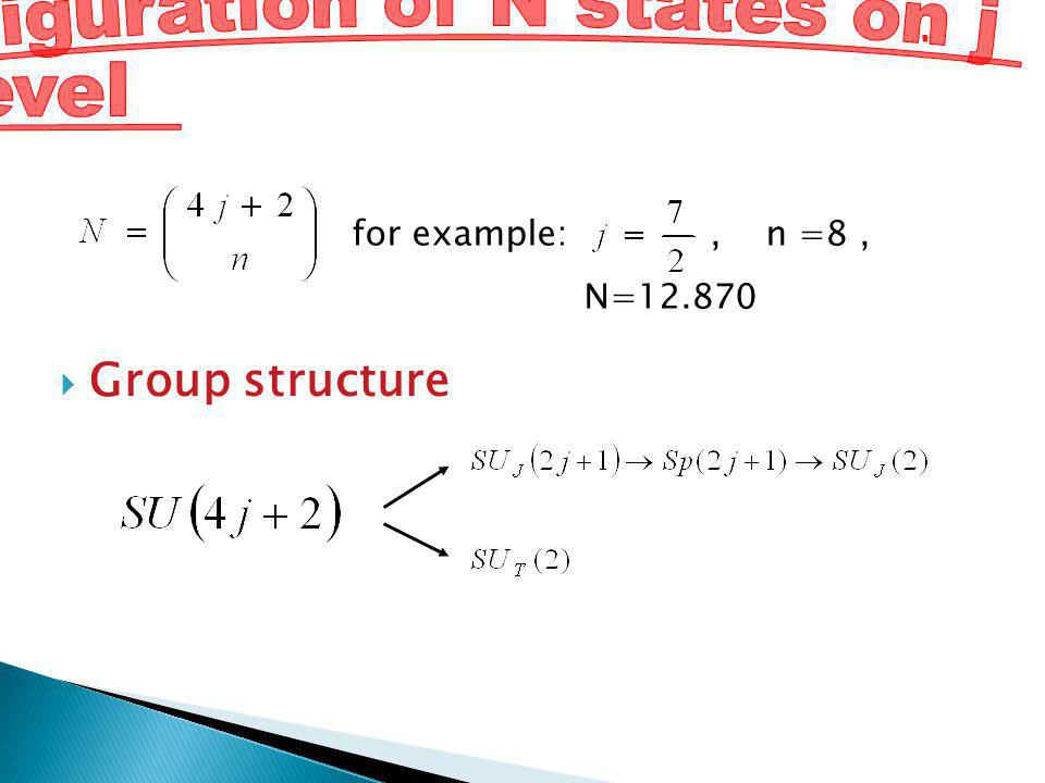 Group structure for example:, n =8, N=12.870