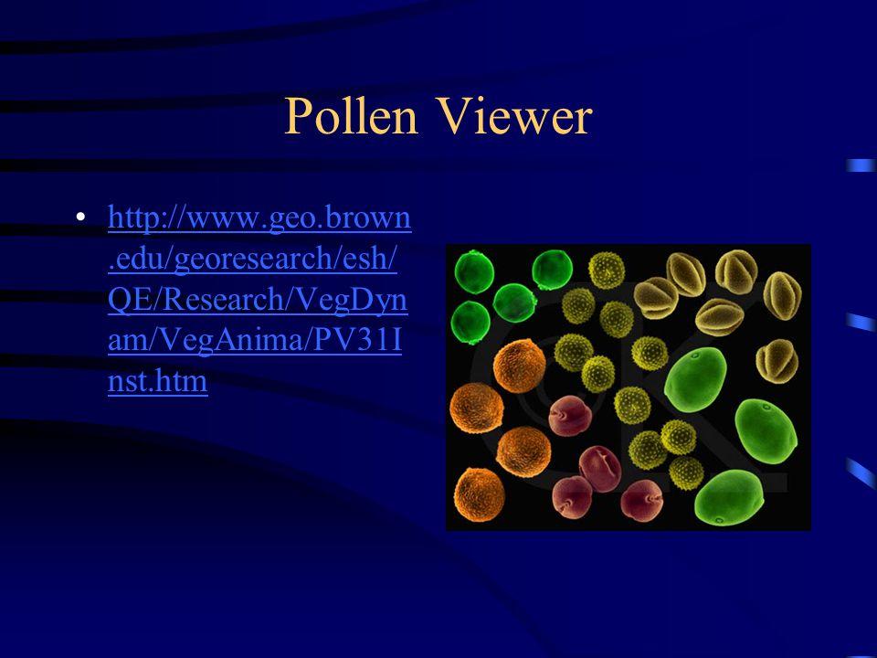 Pollen Viewer http://www.geo.brown.edu/georesearch/esh/ QE/Research/VegDyn am/VegAnima/PV31I nst.htmhttp://www.geo.brown.edu/georesearch/esh/ QE/Research/VegDyn am/VegAnima/PV31I nst.htm