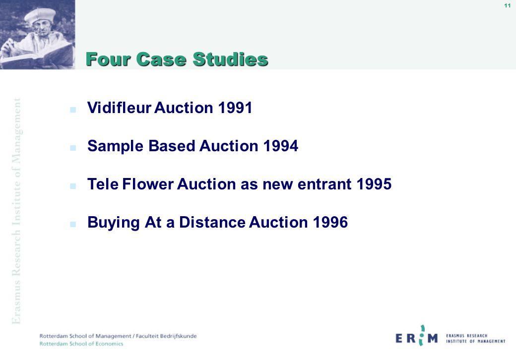 11 Four Case Studies Four Case Studies n Vidifleur Auction 1991 n Sample Based Auction 1994 n Tele Flower Auction as new entrant 1995 n Buying At a Distance Auction 1996