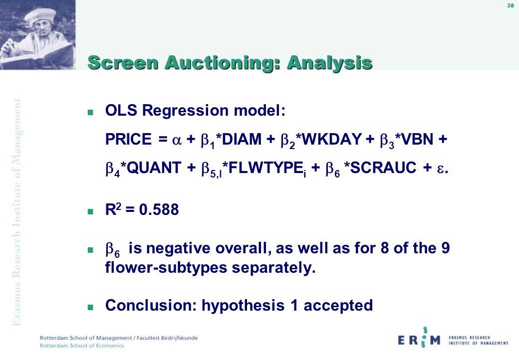 38 Screen Auctioning: Analysis n OLS Regression model: PRICE = + 1 *DIAM + 2 *WKDAY + 3 *VBN + 4 *QUANT + 5,I *FLWTYPE i + 6 *SCRAUC +.