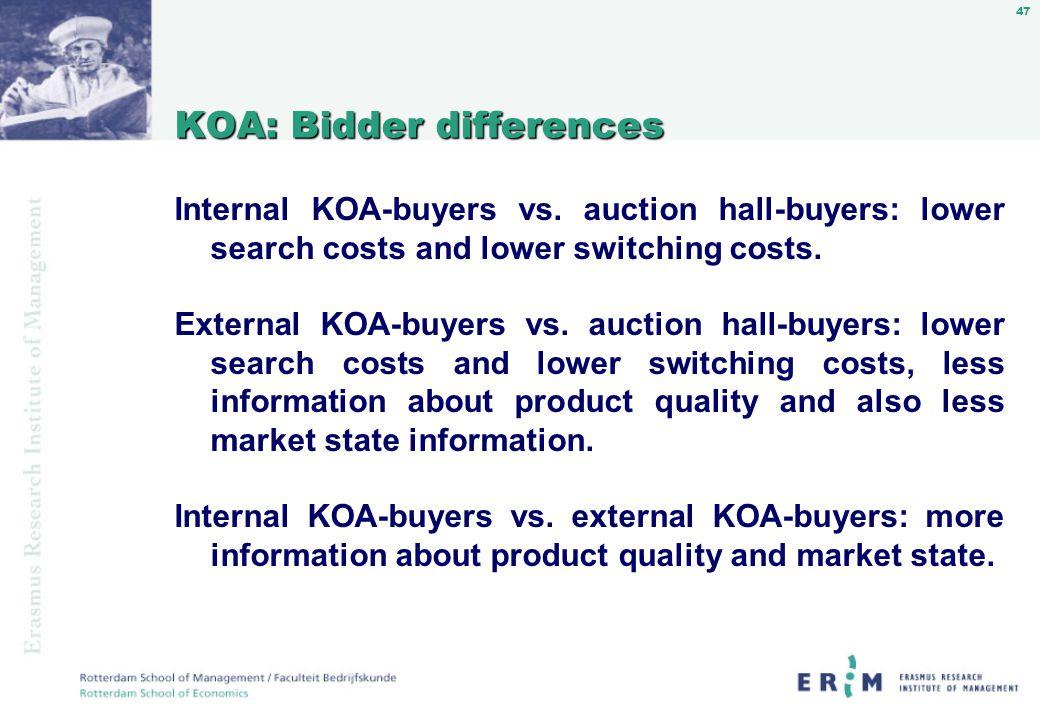 47 KOA: Bidder differences Internal KOA-buyers vs.
