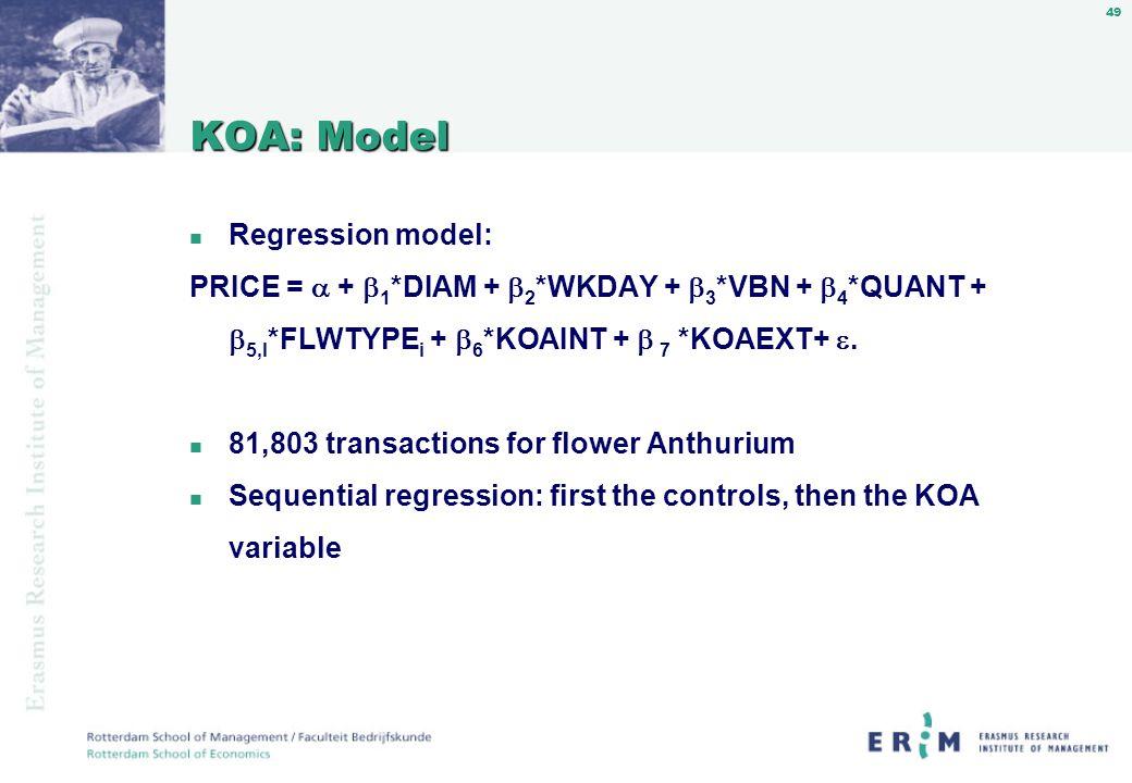 49 KOA: Model n Regression model: PRICE = + 1 *DIAM + 2 *WKDAY + 3 *VBN + 4 *QUANT + 5,I *FLWTYPE i + 6 *KOAINT + 7 *KOAEXT+.