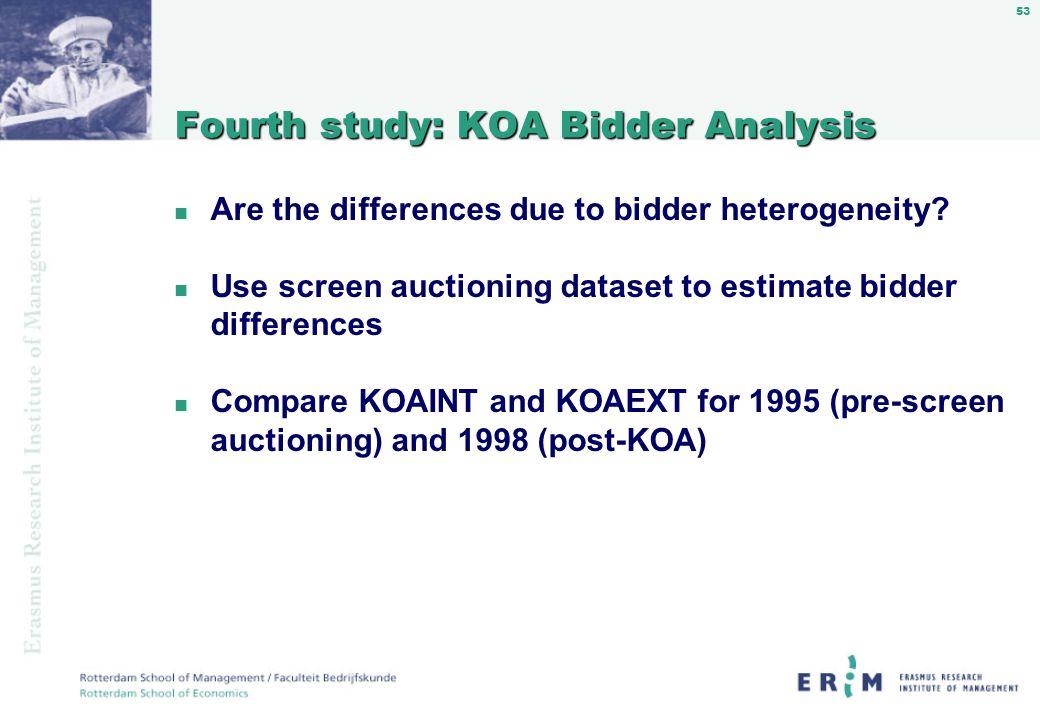 53 Fourth study: KOA Bidder Analysis n Are the differences due to bidder heterogeneity.