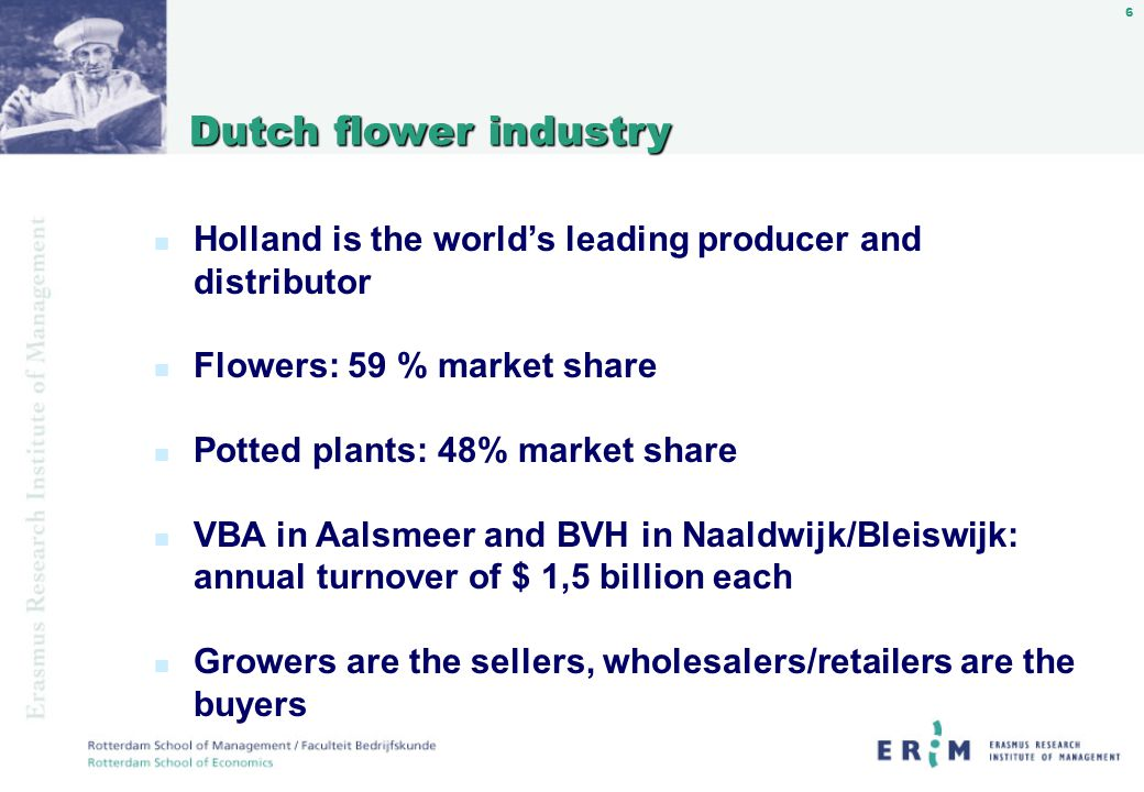 37 Screen Auctioning: Data n Transaction database available, containing data on the transaction (price, quantity, date), as well as the flower (diameter, stemlength, quality code) and the identity of buyer and grower.