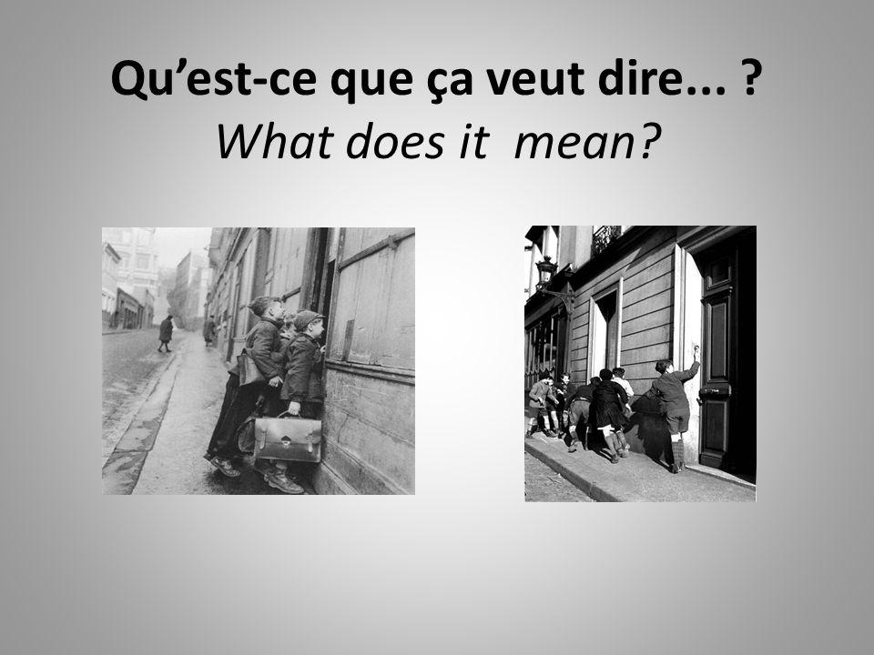Quest-ce que ça veut dire... ? What does it mean?