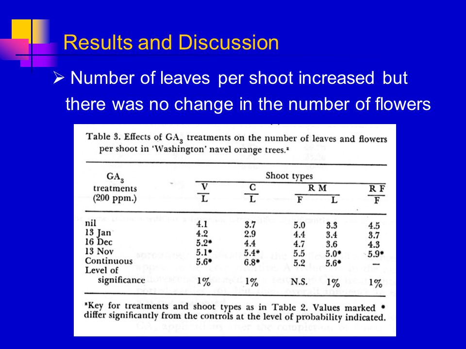 Number of leaves per shoot increased but there was no change in the number of flowers Results and Discussion