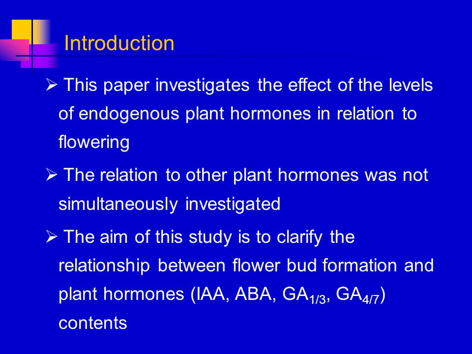 This paper investigates the effect of the levels of endogenous plant hormones in relation to flowering The relation to other plant hormones was not si