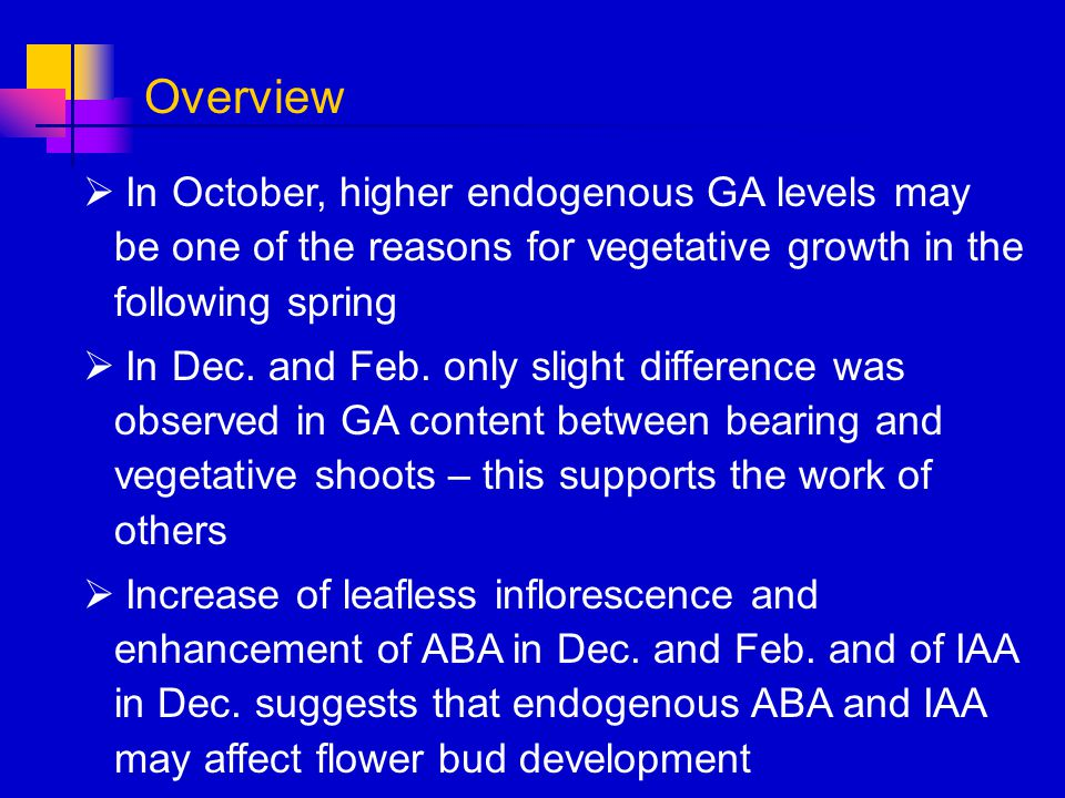 In October, higher endogenous GA levels may be one of the reasons for vegetative growth in the following spring In Dec. and Feb. only slight differenc