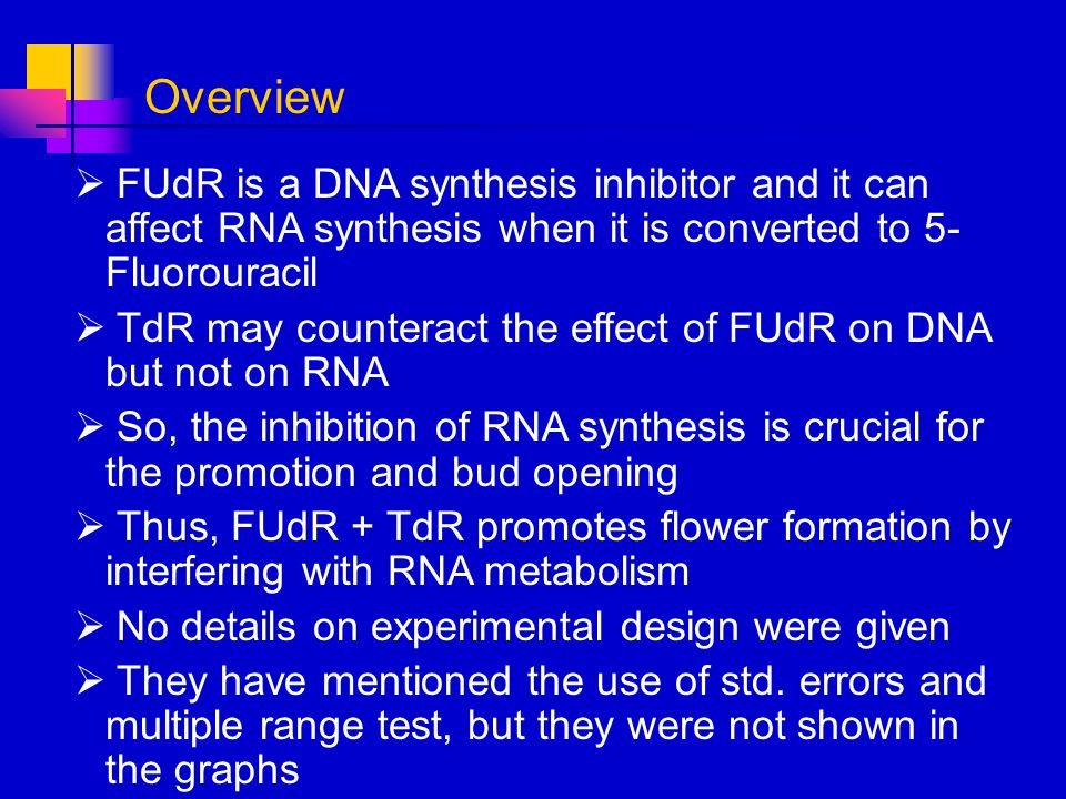 FUdR is a DNA synthesis inhibitor and it can affect RNA synthesis when it is converted to 5- Fluorouracil TdR may counteract the effect of FUdR on DNA