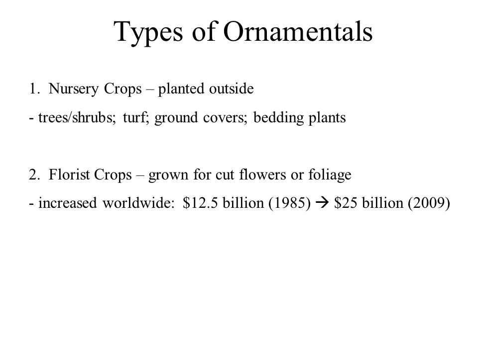 Types of Ornamentals 1.