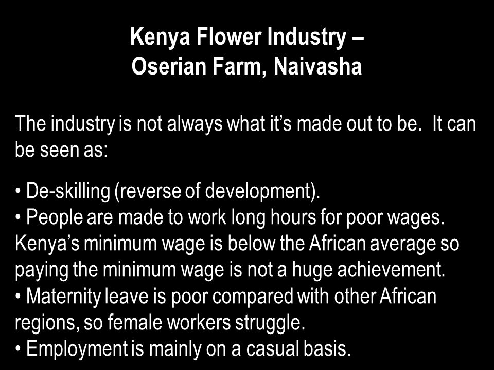 Kenya Flower Industry – Oserian Farm, Naivasha The industry is not always what its made out to be. It can be seen as: De-skilling (reverse of developm