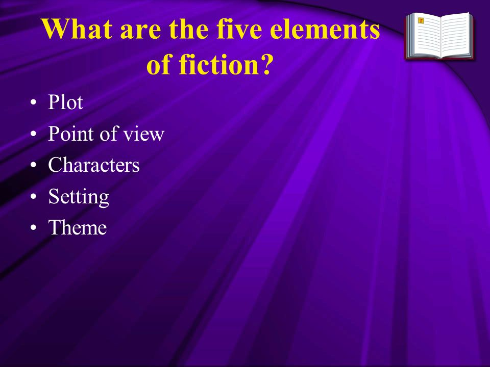 What are the five elements of fiction? Plot Point of view Characters Setting Theme