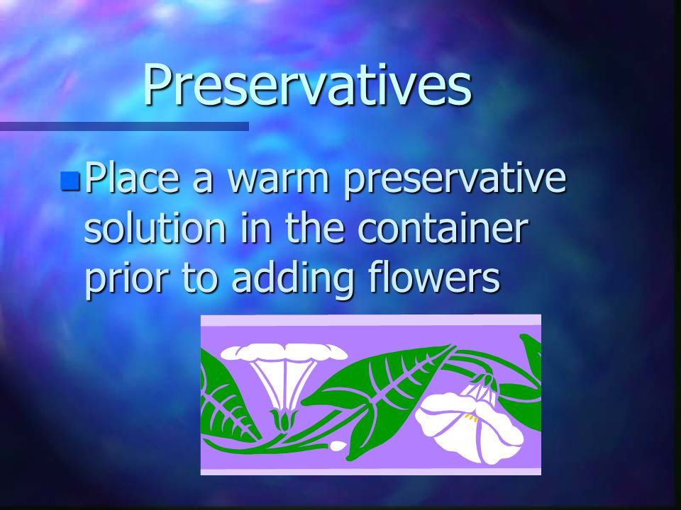 Containers n should be short enough so that the flowers do not come in contact with the sides of the container
