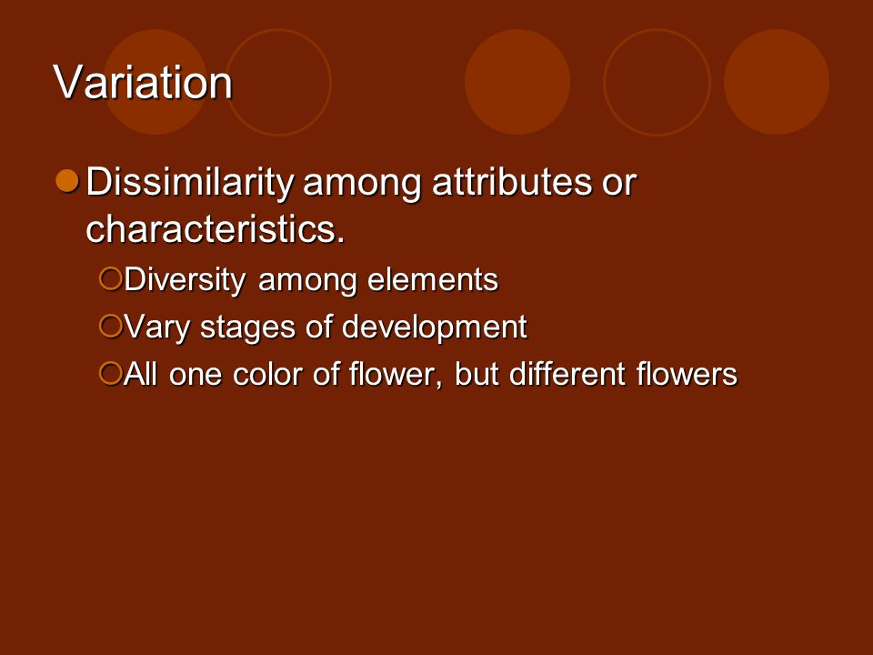 Variation Dissimilarity among attributes or characteristics. Dissimilarity among attributes or characteristics. Diversity among elements Diversity amo