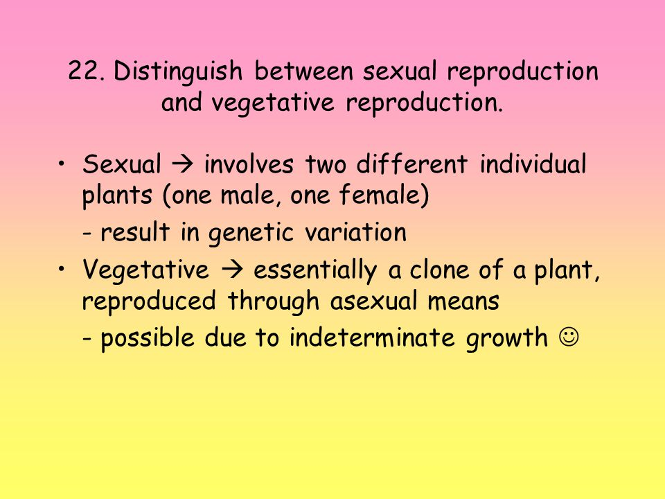 22.Distinguish between sexual reproduction and vegetative reproduction.