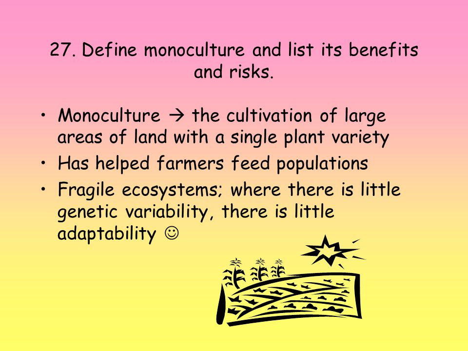 27.Define monoculture and list its benefits and risks.