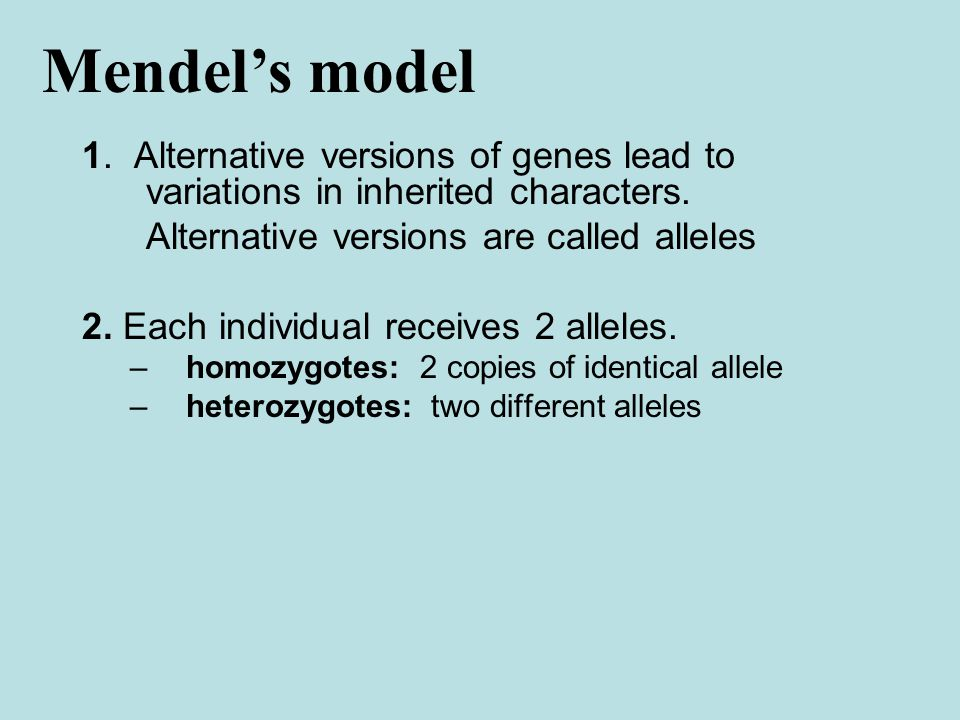 1. Alternative versions of genes lead to variations in inherited characters.