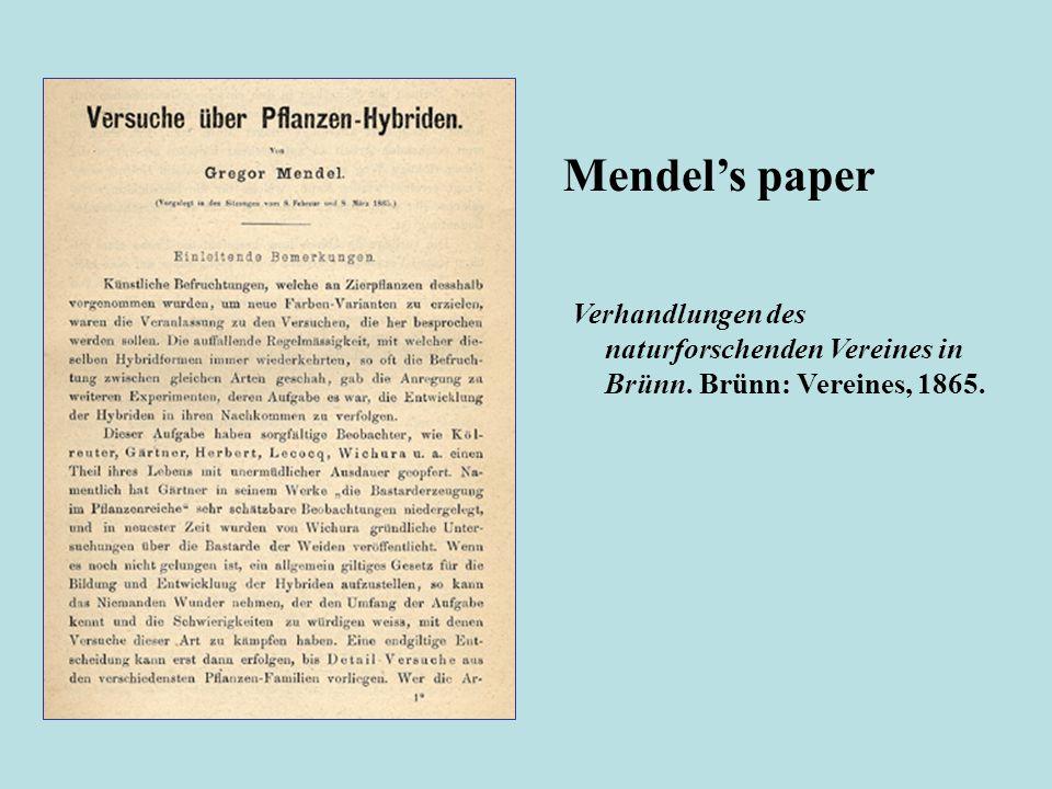 Verhandlungen des naturforschenden Vereines in Brünn. Brünn: Vereines, 1865. Mendels paper