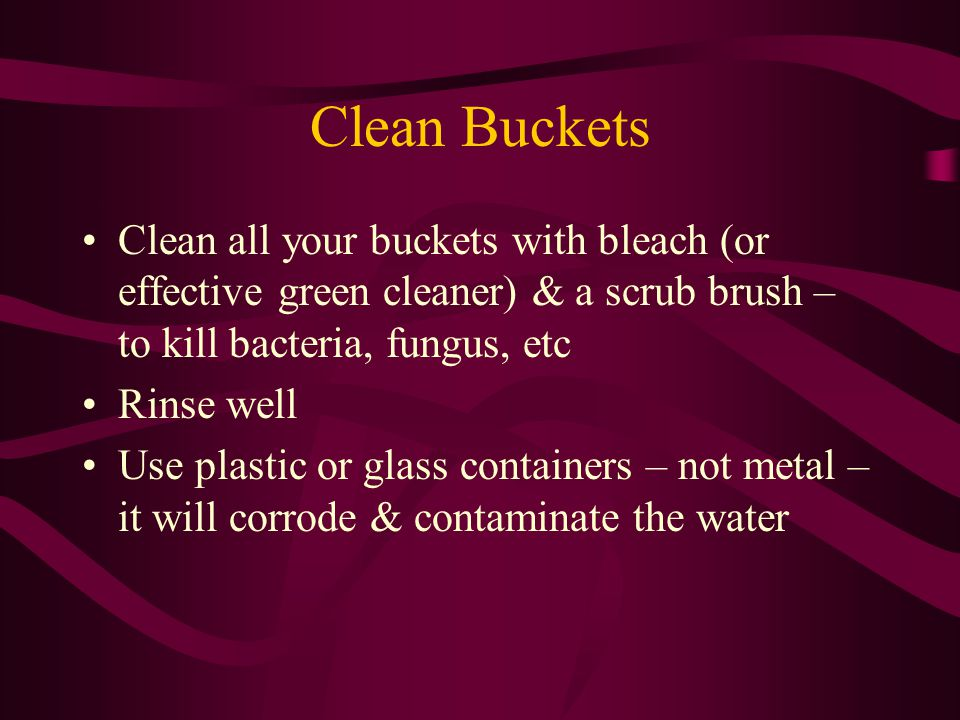 Clean Buckets Clean all your buckets with bleach (or effective green cleaner) & a scrub brush – to kill bacteria, fungus, etc Rinse well Use plastic or glass containers – not metal – it will corrode & contaminate the water