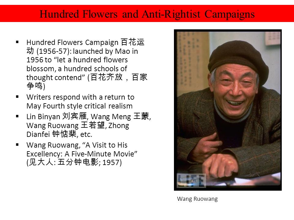 Hundred Flowers Campaign (1956-57): launched by Mao in 1956 to let a hundred flowers blossom, a hundred schools of thought contend ( ) Writers respond with a return to May Fourth style critical realism Lin Binyan, Wang Meng, Wang Ruowang, Zhong Dianfei, etc.