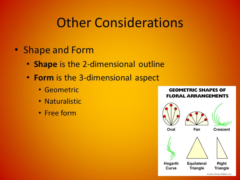 Other Considerations Shape and Form Shape is the 2-dimensional outline Form is the 3-dimensional aspect Geometric Naturalistic Free form