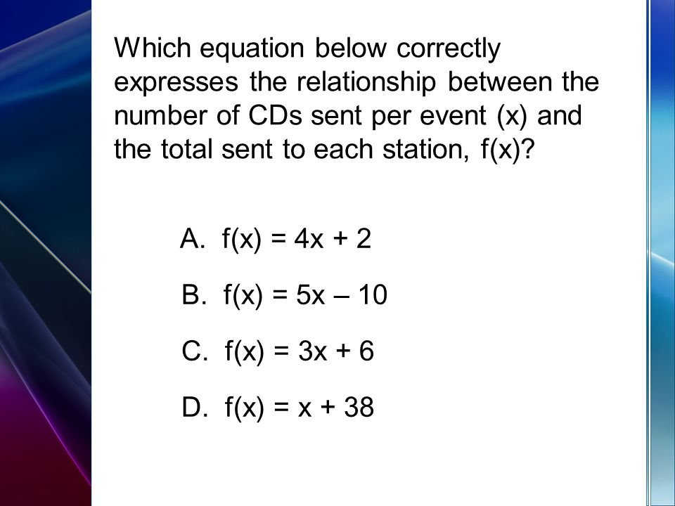 Which equation below correctly expresses the relationship between the number of CDs sent per event (x) and the total sent to each station, f(x).