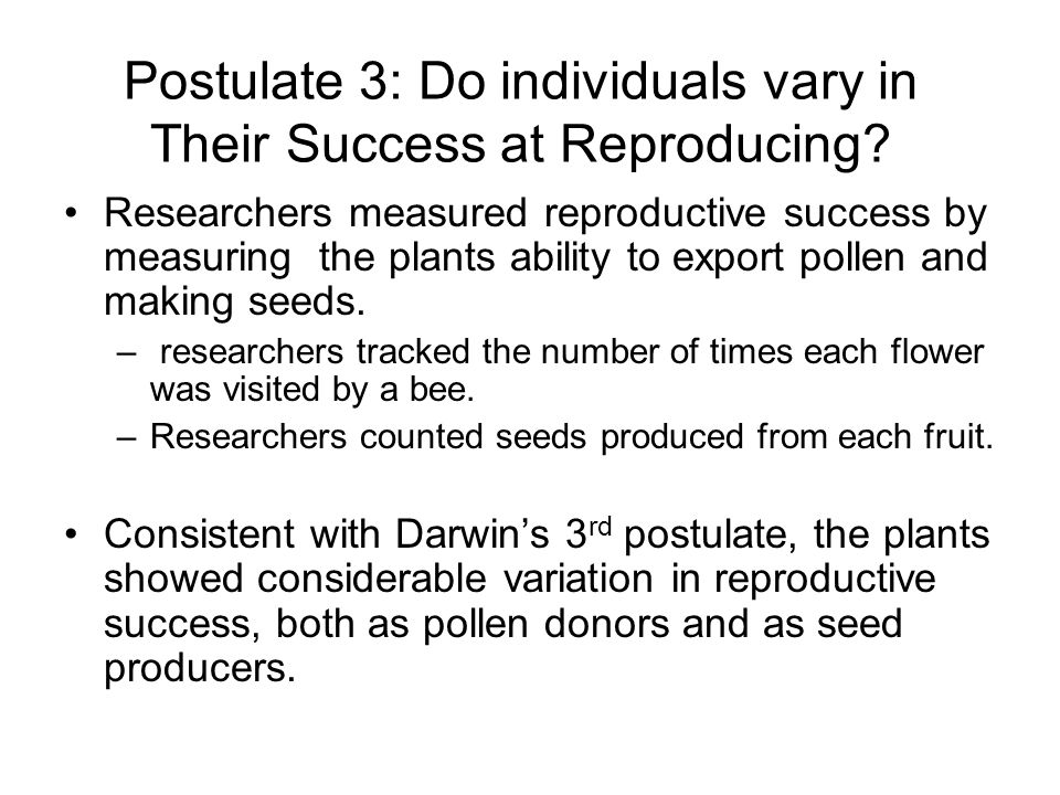 Postulate 3: Do individuals vary in Their Success at Reproducing.