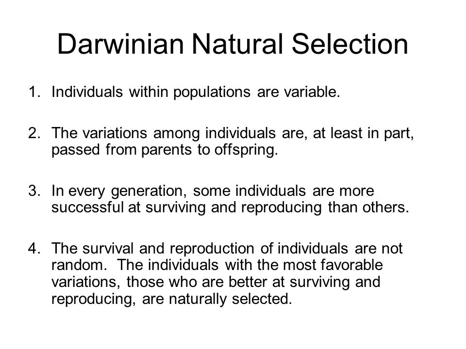 Darwinian Natural Selection 1.Individuals within populations are variable.