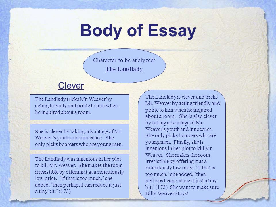 Write my the landlady essay