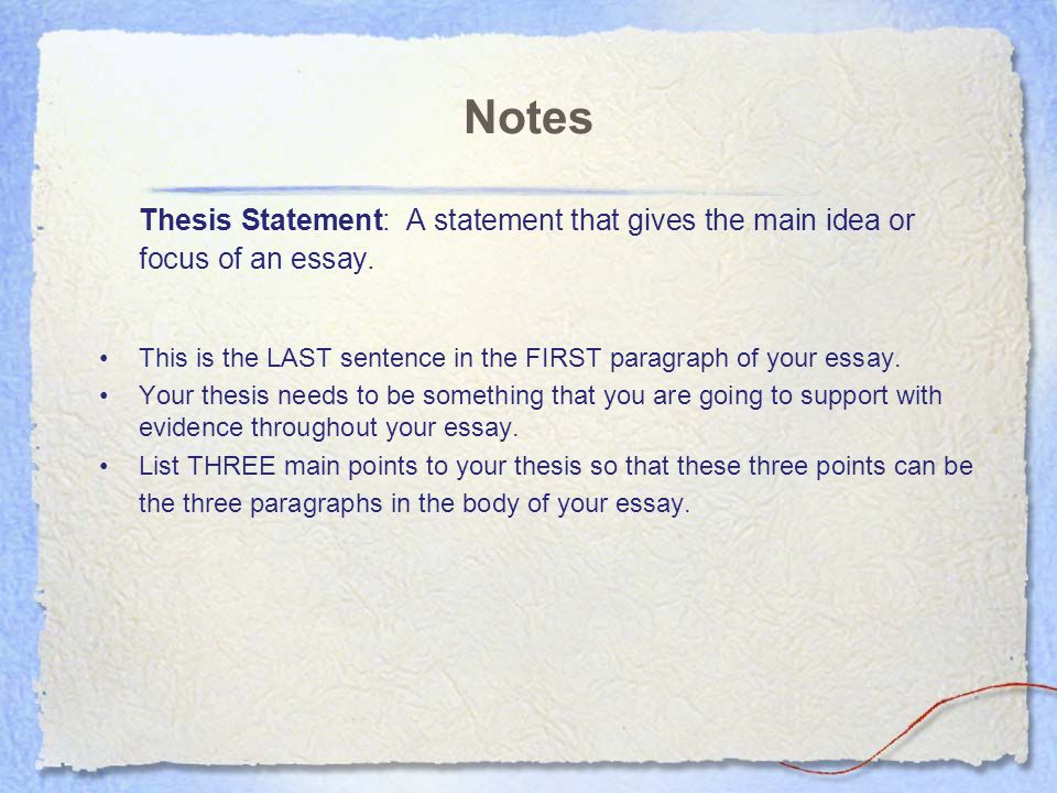 Essay Rubric Category 1 2 3 4 Thesis statement Not
