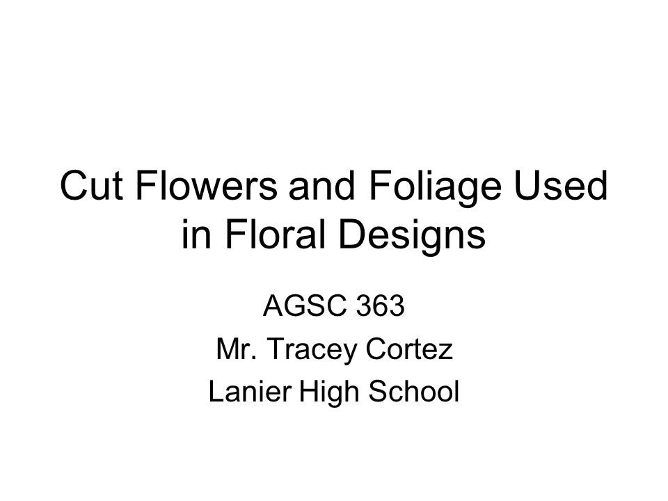 Cut Flowers and Foliage Used in Floral Designs AGSC 363 Mr. Tracey Cortez Lanier High School
