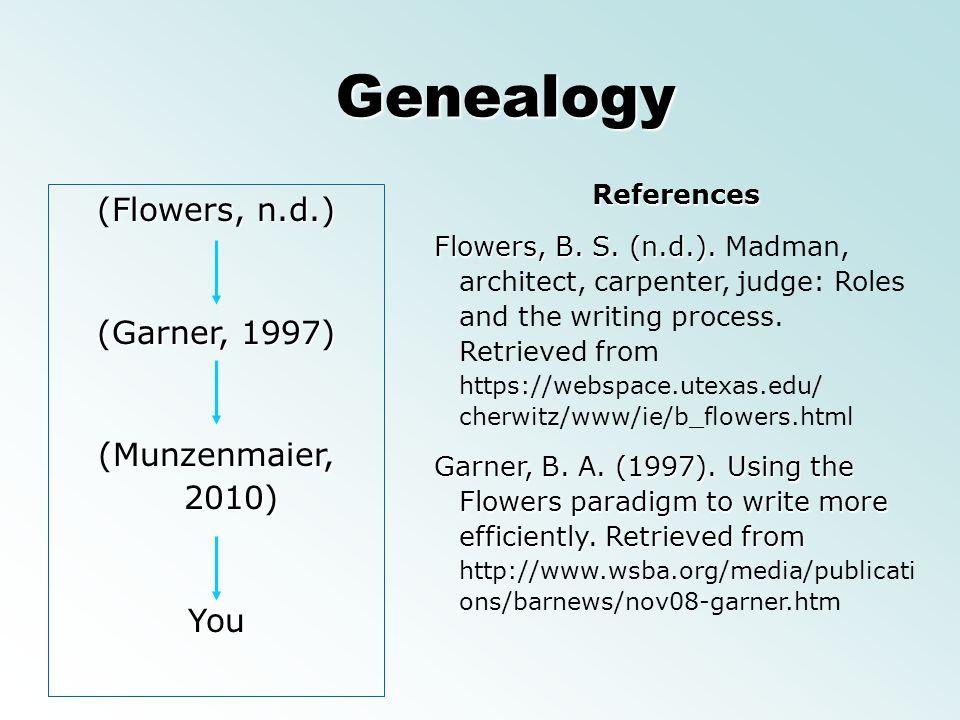 (Flowers, n.d.) (Garner, 1997) (Munzenmaier, 2010) You Genealogy References Flowers, B. S. (n.d.). Flowers, B. S. (n.d.). Madman, architect, carpenter