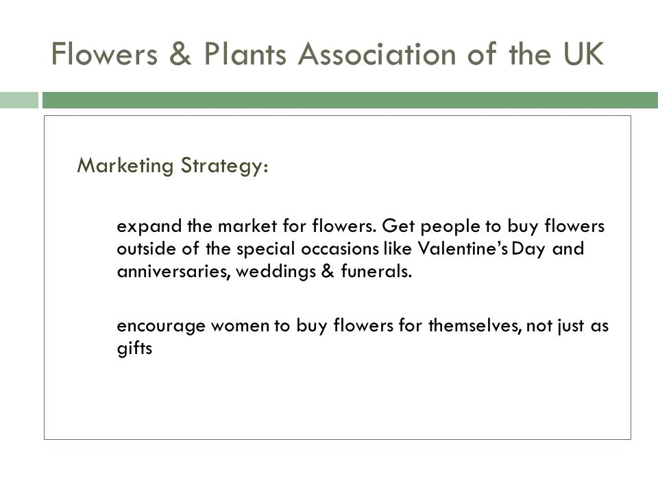 Flowers & Plants Association of the UK Marketing Strategy: expand the market for flowers. Get people to buy flowers outside of the special occasions l
