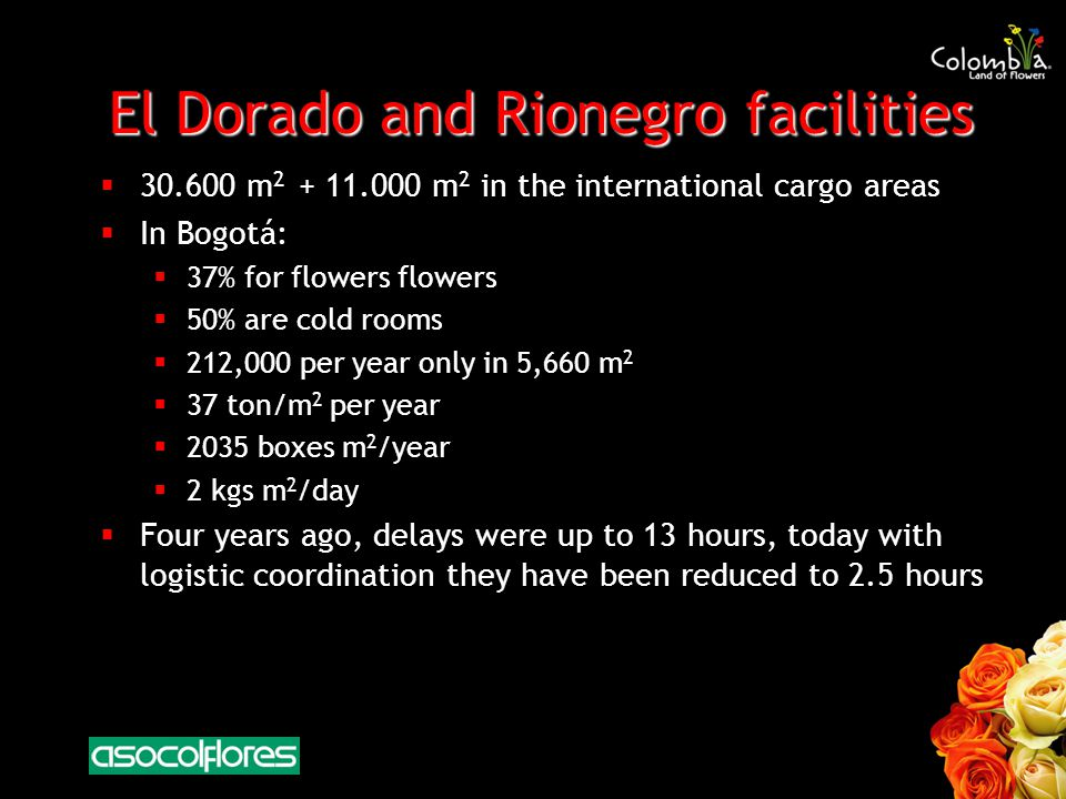 El Dorado and Rionegro facilities 30.600 m 2 + 11.000 m 2 in the international cargo areas In Bogotá: 37% for flowers flowers 50% are cold rooms 212,000 per year only in 5,660 m 2 37 ton/m 2 per year 2035 boxes m 2 /year 2 kgs m 2 /day Four years ago, delays were up to 13 hours, today with logistic coordination they have been reduced to 2.5 hours