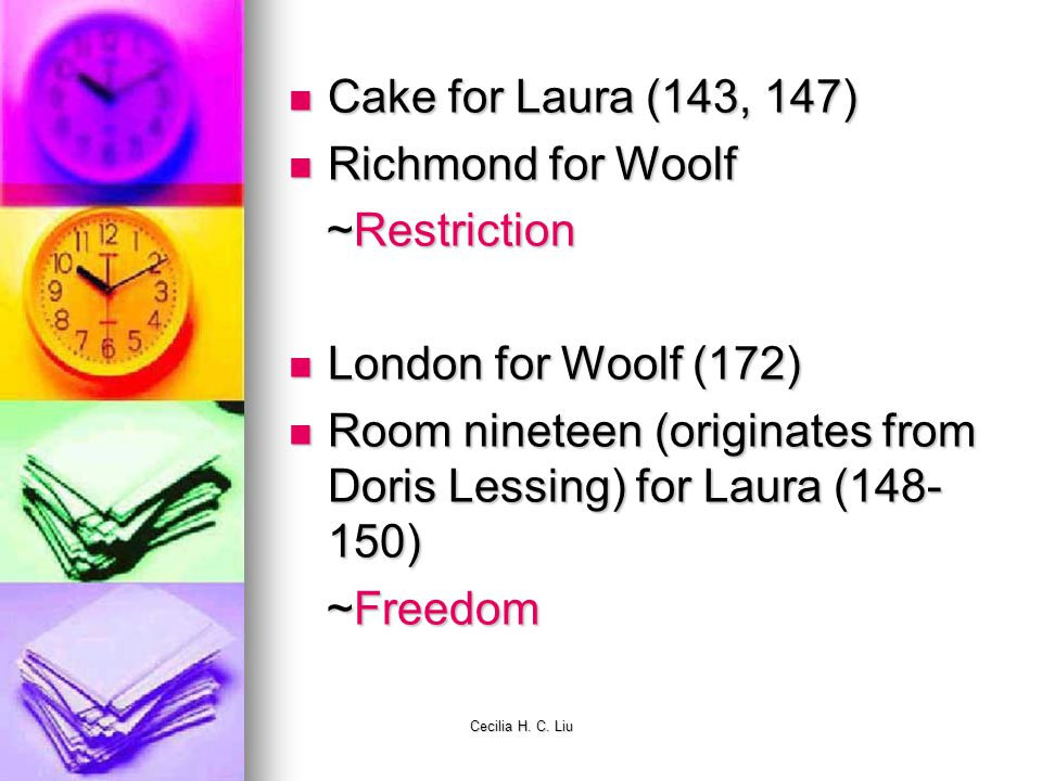 Cecilia H. C. Liu Cake for Laura (143, 147) Cake for Laura (143, 147) Richmond for Woolf Richmond for Woolf ~Restriction ~Restriction London for Woolf
