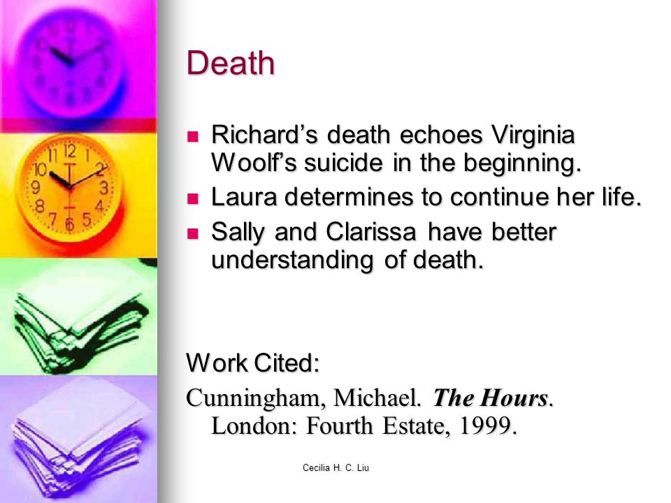 Cecilia H. C. Liu Death Richards death echoes Virginia Woolfs suicide in the beginning. Richards death echoes Virginia Woolfs suicide in the beginning