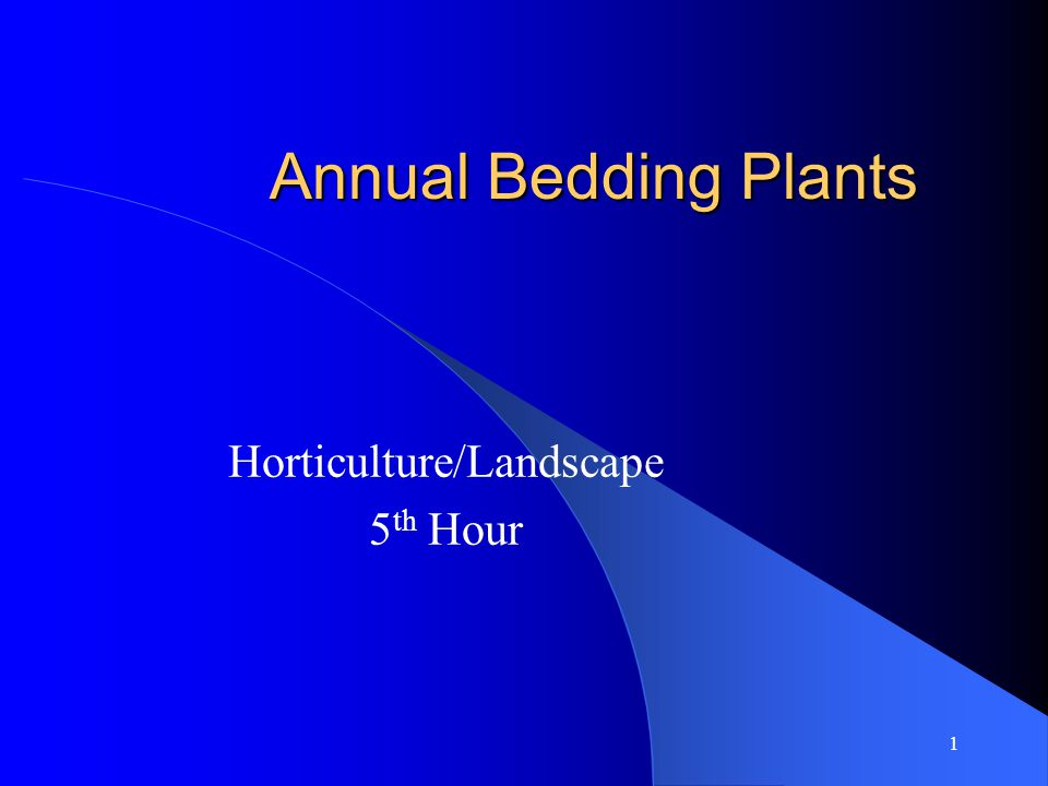 1 Annual Bedding Plants Horticulture/Landscape 5 th Hour