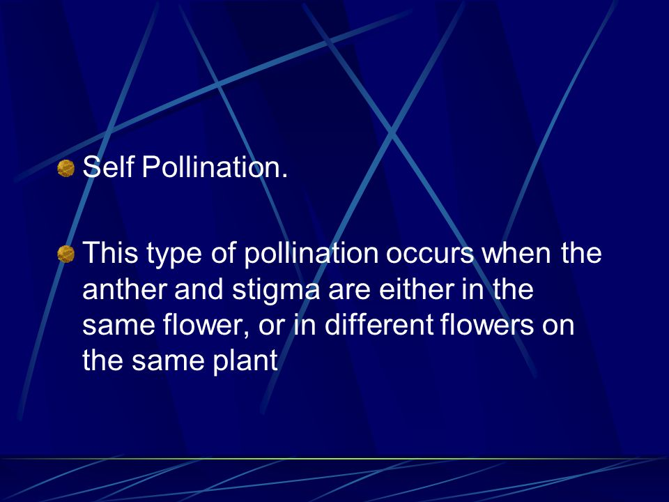 There are two types of Pollination: Self Pollination. Cross Pollination.