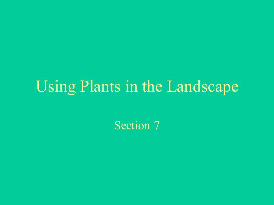 Using Plants in the Landscape Section 7