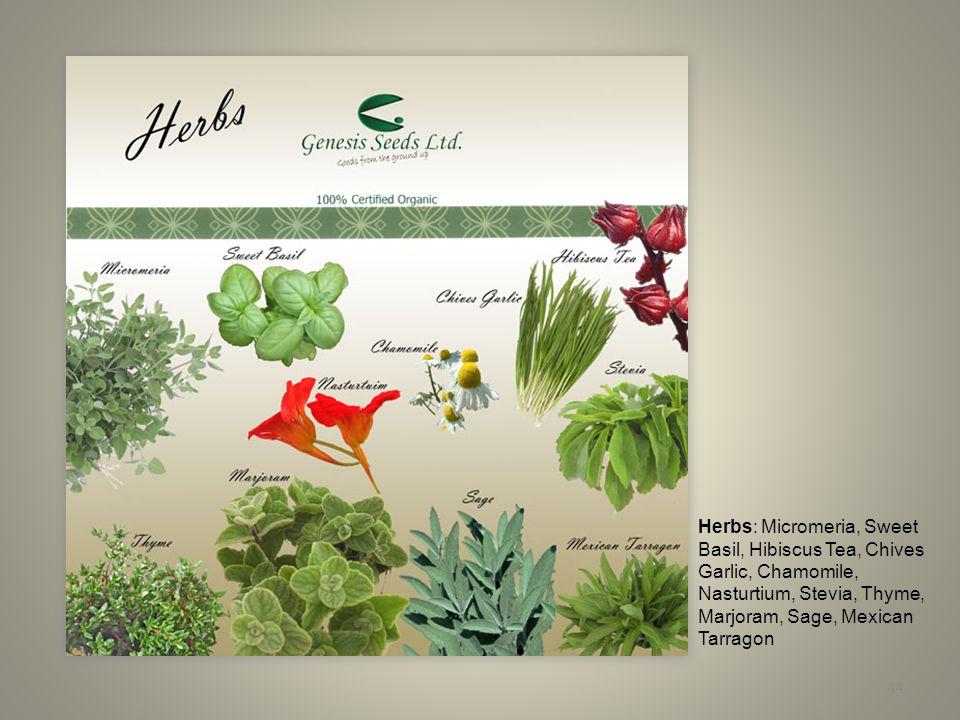 44 Herbs: Micromeria, Sweet Basil, Hibiscus Tea, Chives Garlic, Chamomile, Nasturtium, Stevia, Thyme, Marjoram, Sage, Mexican Tarragon