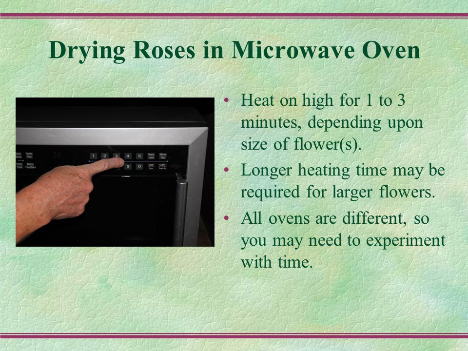Drying Roses in Microwave Oven Heat on high for 1 to 3 minutes, depending upon size of flower(s).