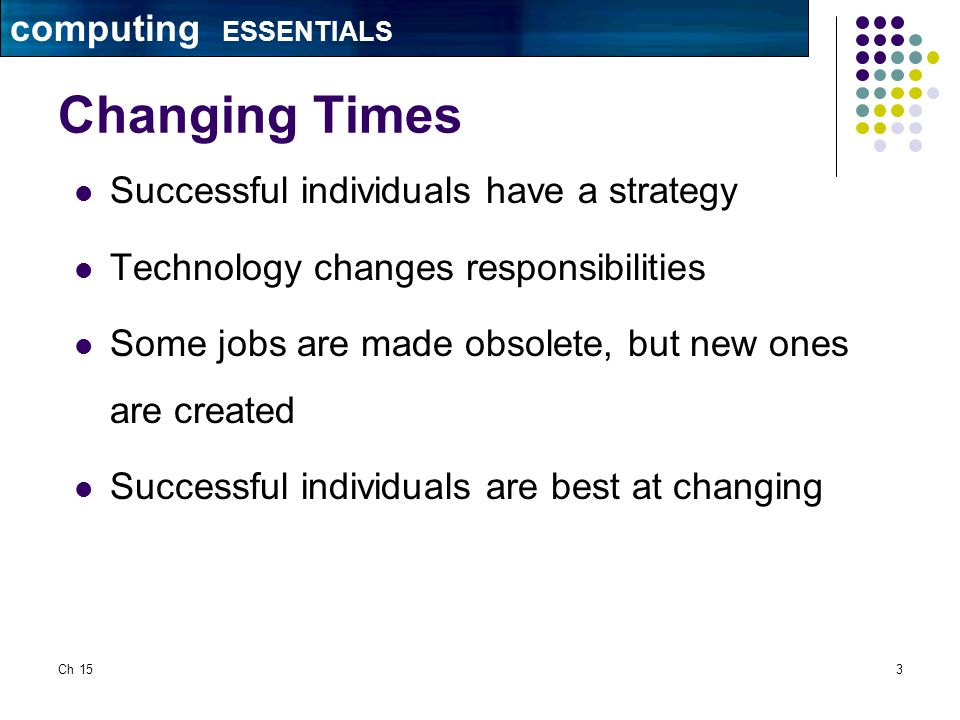 Ch 153 Changing Times Successful individuals have a strategy Technology changes responsibilities Some jobs are made obsolete, but new ones are created Successful individuals are best at changing computing ESSENTIALS