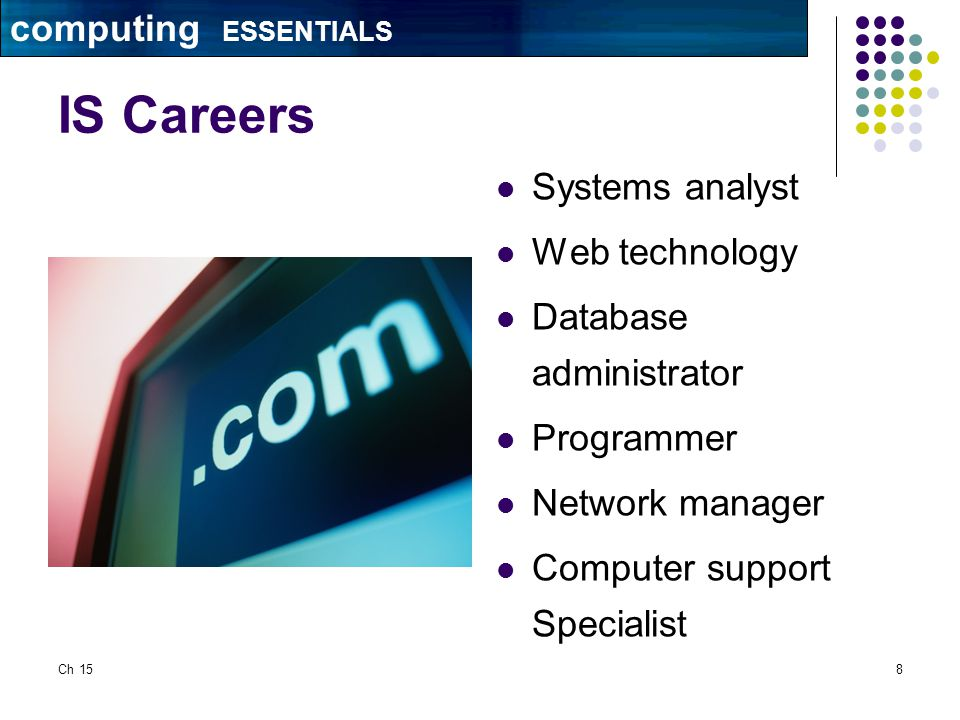 Ch 158 IS Careers Systems analyst Web technology Database administrator Programmer Network manager Computer support Specialist computing ESSENTIALS