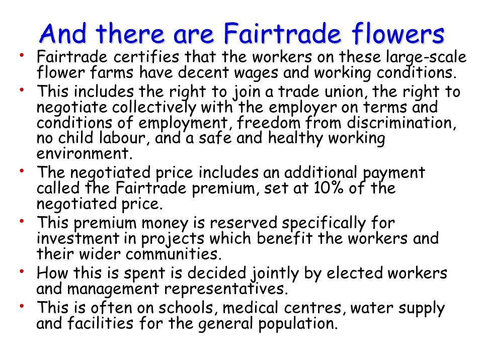And there are Fairtrade flowers Fairtrade certifies that the workers on these large-scale flower farms have decent wages and working conditions. This