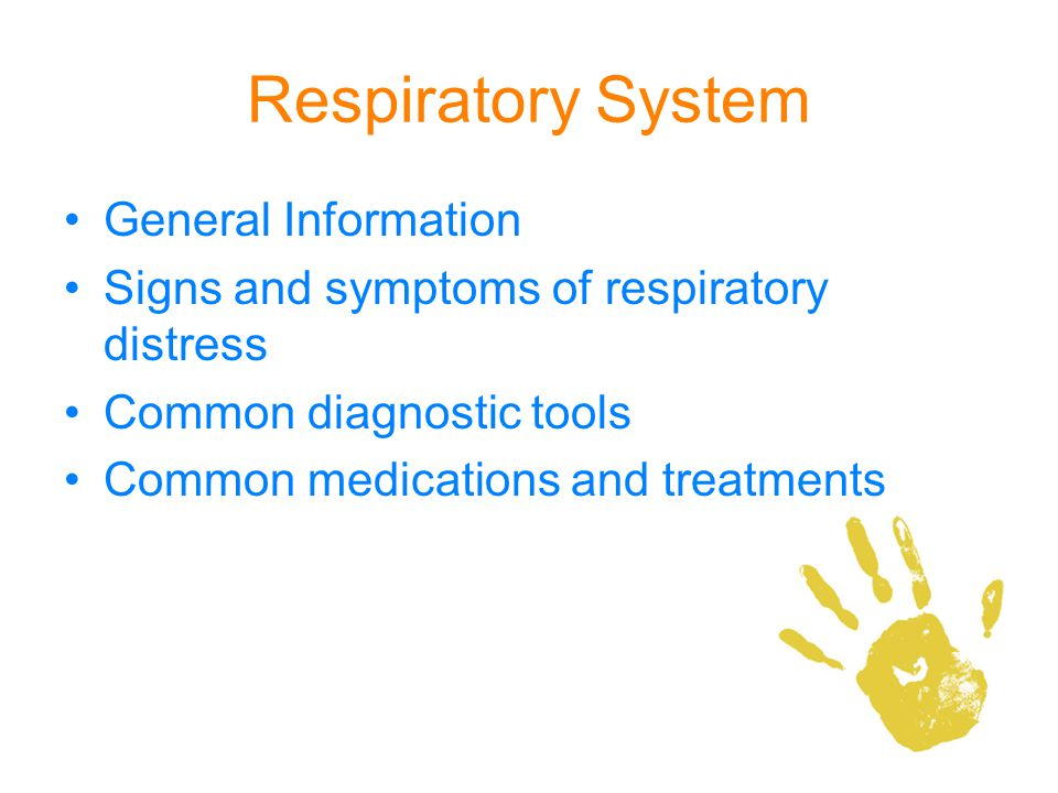 Respiratory System General Information Signs and symptoms of respiratory distress Common diagnostic tools Common medications and treatments
