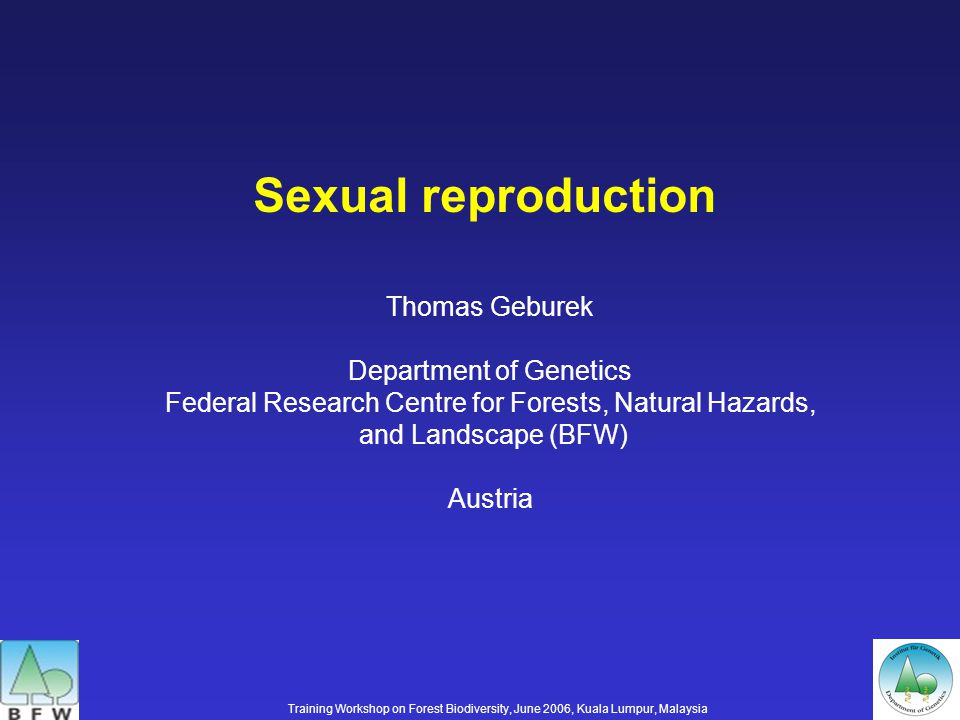 Sexual reproduction Training Workshop on Forest Biodiversity, June 2006, Kuala Lumpur, Malaysia Thomas Geburek Department of Genetics Federal Research Centre for Forests, Natural Hazards, and Landscape (BFW) Austria