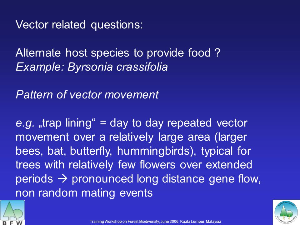 Vector related questions: Alternate host species to provide food .