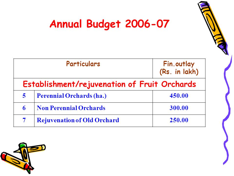 Annual Budget 2006-07 ParticularsFin.outlay (Rs.