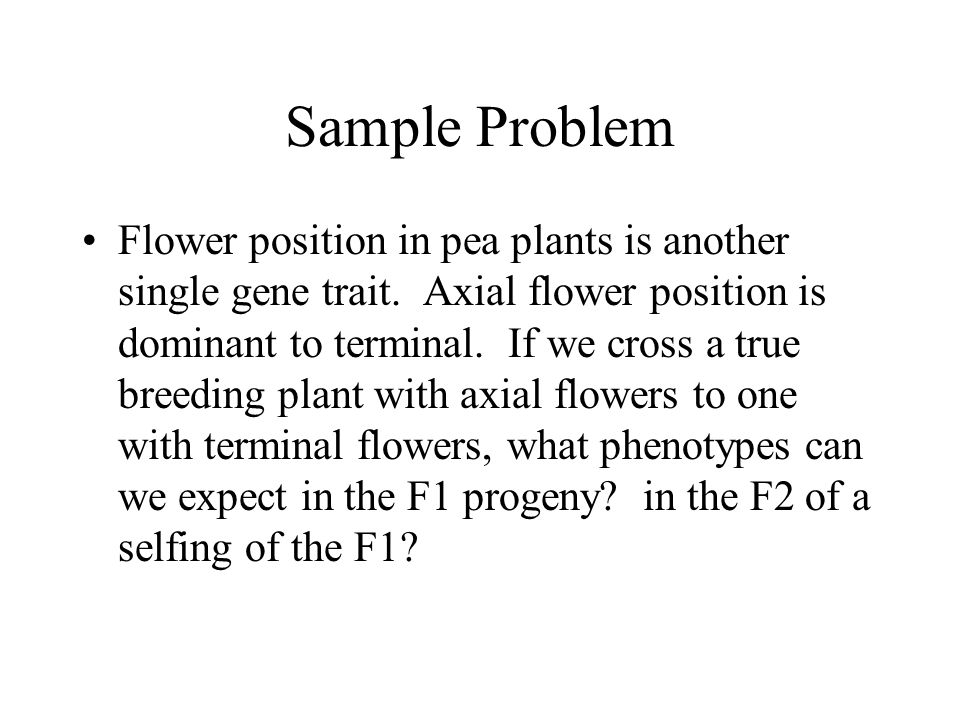 Sample Problem Flower position in pea plants is another single gene trait.