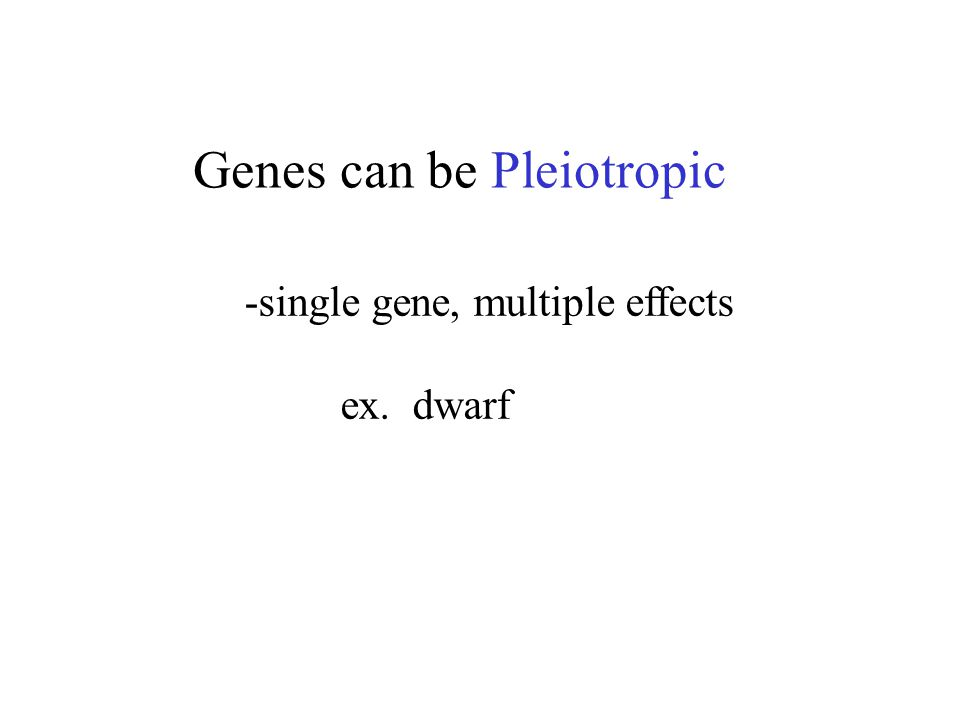 Genes can be Pleiotropic -single gene, multiple effects ex. dwarf